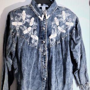 Vintage 80s Pearl Embroidered LS Denim Blouse L